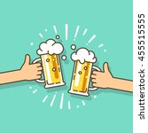 two hands holding beer glasses... | Shutterstock .eps vector #455515555
