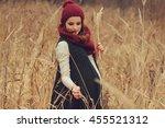beautiful pregnant woman... | Shutterstock . vector #455521312