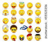 beautiful emoticons set on... | Shutterstock .eps vector #455525356