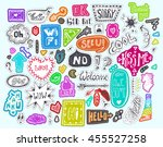 doodle speech and thought... | Shutterstock .eps vector #455527258