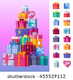 set of gift boxes vector | Shutterstock .eps vector #455529112