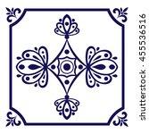 white blue tile vector. dutch... | Shutterstock .eps vector #455536516