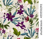 tropical seamless exotic floral ... | Shutterstock . vector #455553292