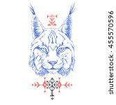 lynx. ethnic american indian... | Shutterstock .eps vector #455570596