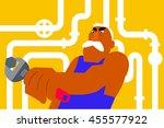 poster plumber repairing pipes... | Shutterstock .eps vector #455577922