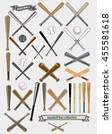 crossed baseball bats and ball... | Shutterstock .eps vector #455581618
