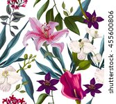 tropical seamless exotic floral ... | Shutterstock . vector #455600806