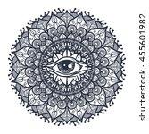 vintage all seeing eye in... | Shutterstock .eps vector #455601982