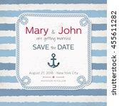 vector vintage marine wedding... | Shutterstock .eps vector #455611282