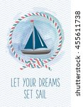 Sea Card With Sailboat  Rope ...