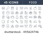 set vector line icons meal and... | Shutterstock .eps vector #455624746