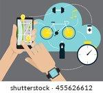 hand holding mobile smart phone ...   Shutterstock .eps vector #455626612