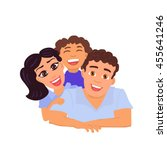 Happy Family Father  Mom And...