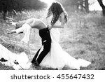 young happy wedding couple of... | Shutterstock . vector #455647432