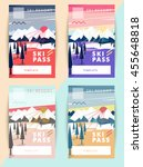 set of vector ski pass template ... | Shutterstock .eps vector #455648818