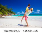 young family in love having fun ... | Shutterstock . vector #455681065