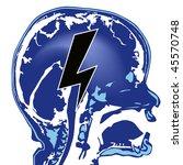 blue brain with black lightning ...   Shutterstock .eps vector #45570748
