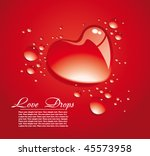 red background with water drops....