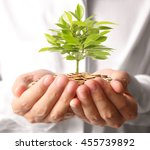 concept of money plant growing... | Shutterstock . vector #455739892