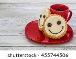 smile cookies on a red plate... | Shutterstock . vector #455744506