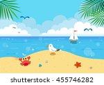 summer seascape background | Shutterstock .eps vector #455746282