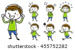 boy  various poses   Shutterstock .eps vector #455752282