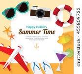summer travel. holiday design... | Shutterstock .eps vector #455809732