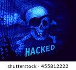 skull and crossbones on binary... | Shutterstock .eps vector #455812222