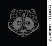 panda head doodle zentangle on... | Shutterstock .eps vector #455826826