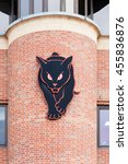 Small photo of SUNDERLAND, ENGLAND - NOVEMBER 27: A black cat adorns a building adjoining the home of Sunderland Football Club in Sunderland, England on November 27, 2015. The Black Cats is Sunderland's nickname.