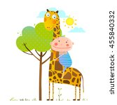Stock vector little boy hugging a giraffe childish friendship happy friend child cuddling animal cartoon 455840332