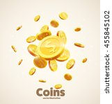 Gold Coins Falling 3d Realisti...