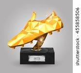 geometric golden boot trophy on ... | Shutterstock .eps vector #455858506