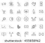 marketing icon set  outline... | Shutterstock .eps vector #455858962