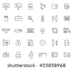 business icon set  outline thin ... | Shutterstock .eps vector #455858968