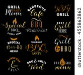barbecue and grill labels set | Shutterstock .eps vector #455862862