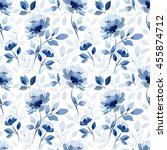 seamless pattern with blue... | Shutterstock .eps vector #455874712