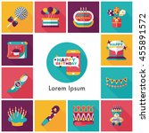 celebration and birthday icons... | Shutterstock .eps vector #455891572
