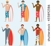 set of surfers | Shutterstock .eps vector #455892586