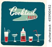 retro cocktail party vector... | Shutterstock .eps vector #455900452