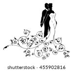 a bride and groom wedding... | Shutterstock .eps vector #455902816