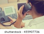 close up hotline call centre...   Shutterstock . vector #455907736