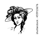 woman face hat. graphics sketch | Shutterstock .eps vector #455913676
