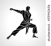martial arts pose silhouette.... | Shutterstock .eps vector #455942656