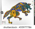 wolf .animal patterns with hand ... | Shutterstock .eps vector #455977786