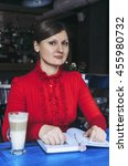 the business lady sits in cafe. ... | Shutterstock . vector #455980732
