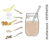 autumn drink. banana smoothie... | Shutterstock .eps vector #455996956