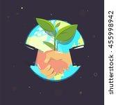 handshake with plant. agreement ... | Shutterstock .eps vector #455998942