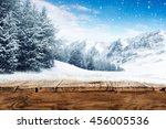 blue winter sky and alps... | Shutterstock . vector #456005536
