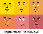 set of cartoon face with... | Shutterstock . vector #456009568